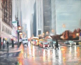 Original Oil Painting: Chicago City Street Scene in the Rain