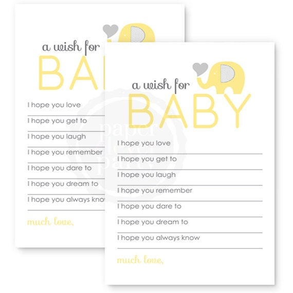 Yellow Elephant Wishes For Baby Shower Game Newborn Advice Mom