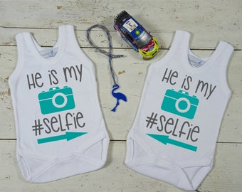 Twin Outfits-Funny Twin Onesies-My Selfie Twin Set-Twin Baby Shower Gifts-Twin Matching Outfits-Twin Bodysuits-Twins Baby Gift