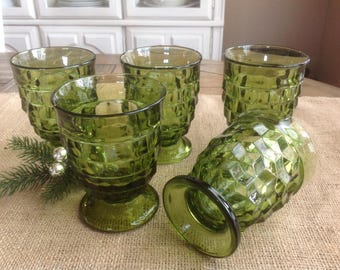 Whitehall  by COLONY FREE SHIPPING Set of 5 Footed Tumblers Green (Avocado)
