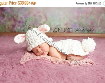 SUMMER SALE Bunny Rabbit Hat & Cape in White Baby Pink - Animal Baby Newborn Cap Costume Halloween  Winter Outfit