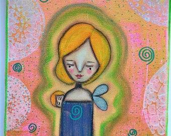 An Aura Angel Mama Art Work. Mixed media artwork. Original Art for Sale, Original Art Work, Fine Art, Original Painting, Gift Women