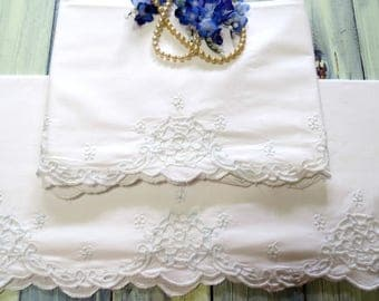 Cutwork Embroidered Pillowcases, White Vintage Bedding, Sturdy Cotton with a Blush of Blue, Vintage Linens by The SweetBasilShoppe