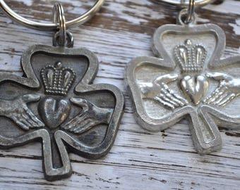 unisex Irish claddagh keychain choice of finish, traditional Irish symbol, love, commitment, claddagh Irish keychain,