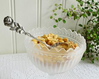 Nut and sugar spoon, vintage German silver plate server, Hildesheimer rose , Antiko 100