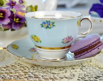 Colclough Blue Teacup and Saucer Set, English Bone China Tea Cup Set,  ca. 1945-1948