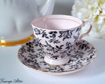 Tuscan Vintage Pink And Black Teacup and Saucer, English Bone China Tea Cup, Wedding Gift, ca. 1947