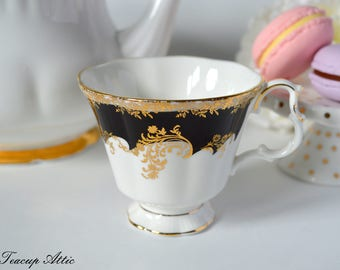 Royal Albert Regina Series Black Diamond Replacement Teacup, Bone China Tea Cup Only, ca. 1988