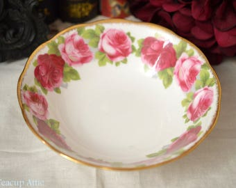 Royal Albert Old English Rose Coupe Cereal Bowl, English Bone China, Replacement China, ca.