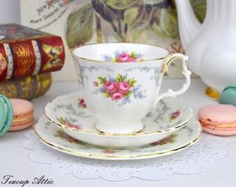 Royal Albert Tranquility Teacup And Saucer Trio, English Bone China, Wedding Anniversary,  ca. 1969-2001