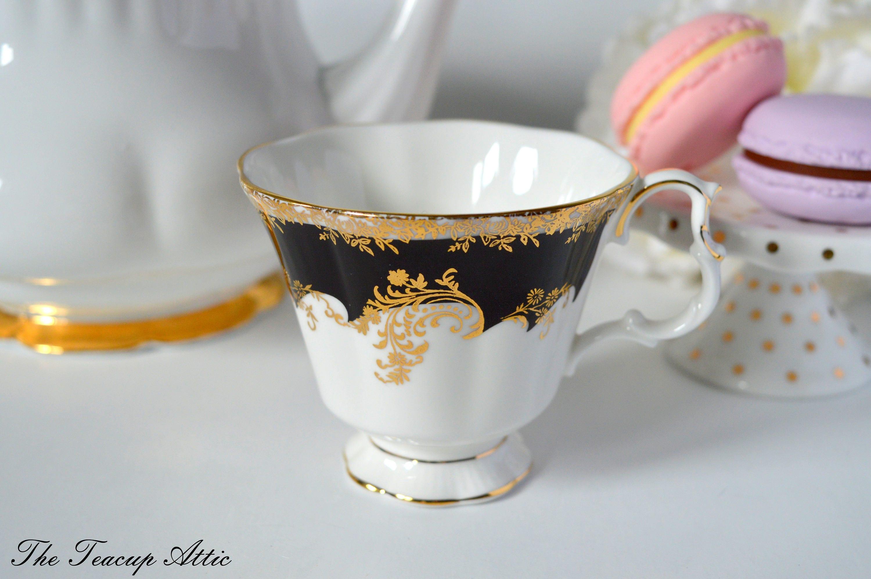 Royal Albert Regina Series Black Diamond Replacement Teacup, Bone China Tea Cup Only, ca. 1988