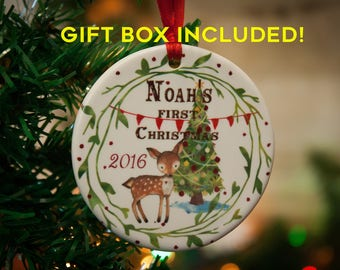 Baby's first Christmas ornament, deer ornament, fox ornament, bear ornament, raccoon, Christmas ornament for baby, personalized ornament,