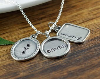 Hand stamped jewelry personalized gifts by luckyhorngifts on etsy family necklace for mom personalized mothers necklace gifts for mom personalized mommy necklace negle Gallery