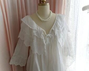 White cotton lace victorian style ruffles collar Blouse Top -  Simply Romantic Tie Neckline Blouse