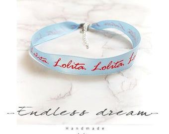necklace Choker Baby Blue Light Blue lolita Handmade Punk Rock ,  cute cutiepie