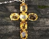 Free Shipping: Antique Victorian Citrine Cross Pendant