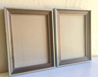 Pair of Matching Painted Wood Picture Frames Silver Gray and Brown - Ready to Hang