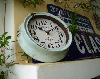shabby chic,vintage pale blue,small,round,metal,wall clock-battery operated,Kensington Station,London design