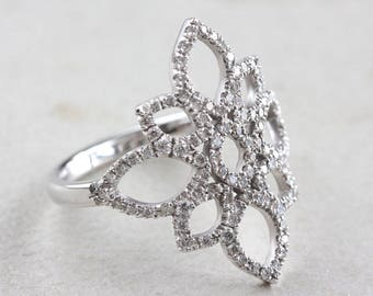 10% OFF Lotus Diamond Ring, Unique Engagement Ring, 14K White Gold Ring, Pave Diamond Ring, Cluster Ring, Flower Ring, Vintage Rings  14K Wh
