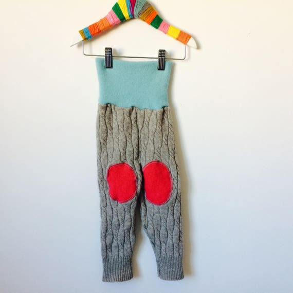 FALL 1-2 Years Kids Cashmere Leggings Knee Patch Toddler Trousers Pants in Upcycled Cashmere Pattern Unisex
