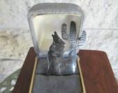 Sale Southwestern Brooch Sterling Silver Cactus Pin Howling Wolf Brooch 90s Southwestern Jewelry
