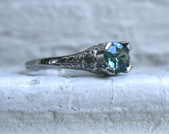 Stunning Vintage Filigree Platinum Diamond and Sapphire Engagement Ring - 1.58ct.