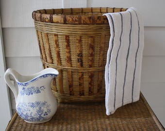 large woven basket, rattan basket, wicker basket, tortoise shell basket, farmhouse decor