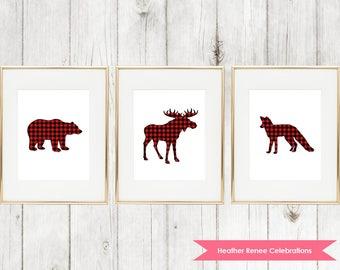 Woodland Animals Nursery Print | Printable Woodland Nursery Decor | Red Buffalo Plaid Wall Art Instant Download