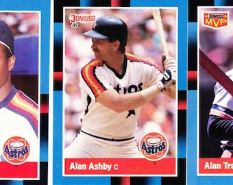 Vintage Baseball Cards Donruss 1988, Gerald Young, Alan Ashby, Houston Astros, Alan Trammell, Detroit Tigers, 3 Cards, Trading Cards