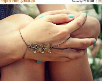 VACATION SALE triple butterfly slave bracelet, butterfly hand chain, bracelet ring, slave ring, butterfly ring, boho bracelet, ring bracelet