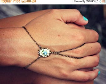 VACATION SALE blue rose hand chain, bracelet ring, slave ring, flower ring, boho bracelet, ring bracelet