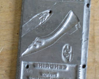 French shoe printing stamp, 1950s letterpress printer's type advertising stamp for girls' footwear