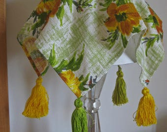 Barkcloth lampshade covers, two 1960s French green, yellow, orange floral fabric abat jours