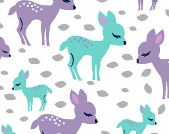 Snuggle Flannel Fabric - Baby Deer - Sold by the Yard