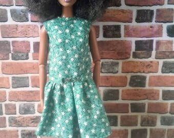 """Green Vintage Floral Print Belted """"Lucy"""" Mini Dress for Barbie or similar fashion doll"""