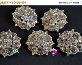ON SALE Metal Rhinestone Buttons Crystal Clear with Loop 28mm  - Flower Centers - Wedding Bridal Prom Jewels Clear Stones Sparkle Wholesale