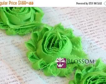 ECLIPSE SALE 1/2 or 1 Yard Increment - APPLE Green - Chiffon Shabby Rose Trim - Headband flowers - Scrapbooking - Bright Green - Diy Headban