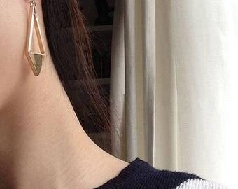 ON SALE Asymmetrical Long dangle diamond shape earrings