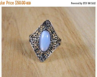ETSYCIJ Sterling Silver and Blue Cat Eye Moon Stone Ring / Vintage Art Deco Style Moonstone / Cateye Moonstone Ring Size 7.75