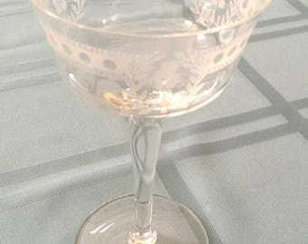 Vintage Irish Crystal Champagne Parfait Dessert Glass Frosted Dot Laurel Pattern