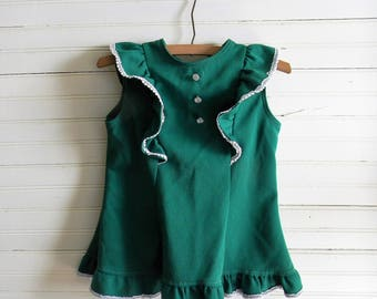 Girls Vintage Top, 1970s Tunic Top, Green Peasant Top Boho Chic Tie Back Tunic Top, GIrls 1980s Clothing, Kids 80s Clothing, Size 10 Girls