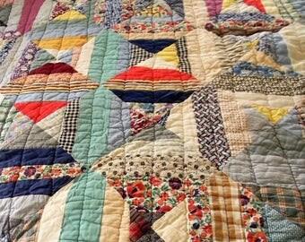 Vintage Quilt, 1930s Patchwork Quilt, Piecework Quilt, Depression Era Quilt, Cutter Quilt, Full SIze PAtchwork Quilt, Crafts, DIY, Upcycle