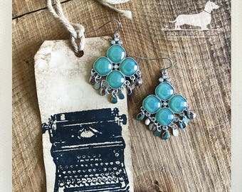 Mint. Dangle Earrings -- (Vintage-Style, Bridal, Rustic, Boho Chic, Bridesmaid Jewelry, Silver, Elegant, Green, Blue, Gift For Her Under 10)