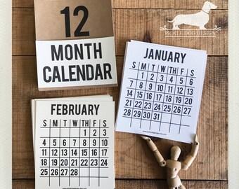 2018. Desktop Calendar -- (Vintage-Style, Modern, Minimalist, Simple, Unisex Gift, Simple, Grid Calendar, Stendig, Christmas Gift Under 15)