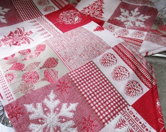 "HOLIDAY TABLE RUNNER, red and white tapestry Christmas runner, 54"" L x 11"" W, cottage decor, Holiday Linens, new"
