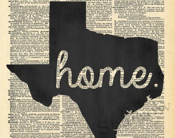 Vintage Dictionary Texas Home print