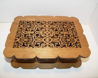 Fretwork scroll sawn jewelry box.