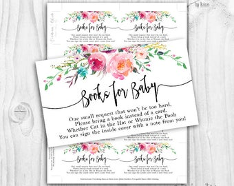 Floral baby Shower girl book cards, watercolor floral, please bring a book floral card, rustic baby shower book cards, books for baby cards
