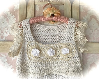 Vintage Style Romantic Crocheted Dress Size