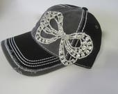 Two Tone Black and Grey Trucker Baseball Cap Hat with Gorgeous All Rhinestone Bow Accent Womens Hats Visors Accessories